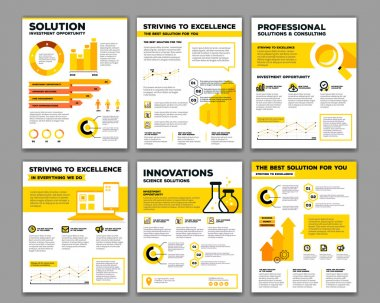 Vector set of corporate business template infographic with objec