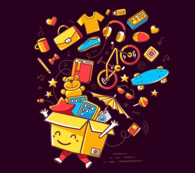 Vector illustration of colorful smile character shopping box wit