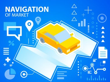 Bright illustration navigate map and car