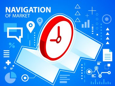 Bright illustration navigate map and clock