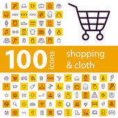 Photo Set of 100 icons of shopping on line