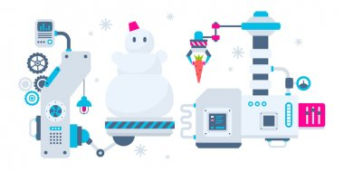 Vector horizontal Christmas illustration of the machines that ma