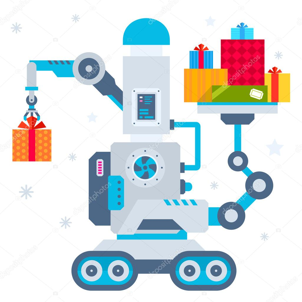 Vector illustration of the machine that puts one present and hol