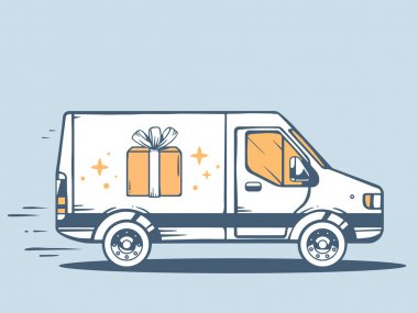Vector illustration of van free and fast delivering gift box to customer on blue background. clip art vector