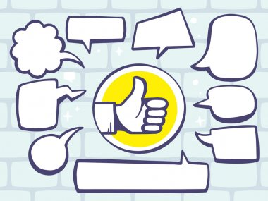 Thumb up with speech  bubbles