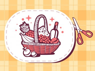 Sticker with icon of basket