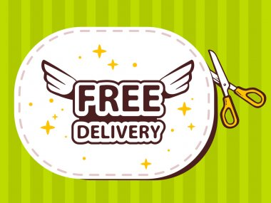 Sticker with icon of free delivery