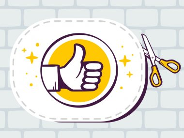 Sticker with icon of thumb up