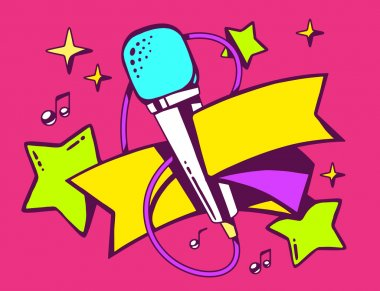 Olorful microphone with ribbon