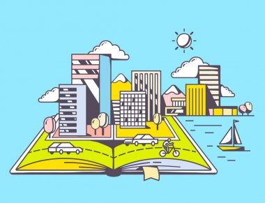 Cartoon open book with modern city