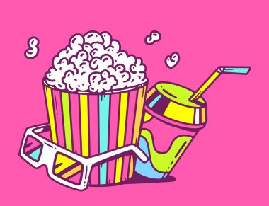 Pop corn with glasses for 3d