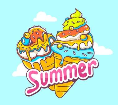 Bright ice creams with summer inscription