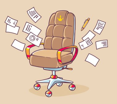 Office armchair with documents