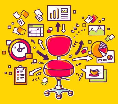 Office chair with documents and charts