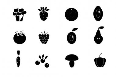 Set of icons on the theme of healthy food, vector illustration, fruits and vegetables, black and white icon