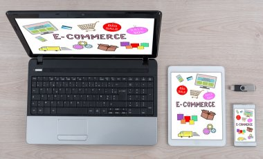 E-commerce concept on different information technology devices