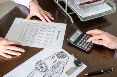 Dealer calculating a car price