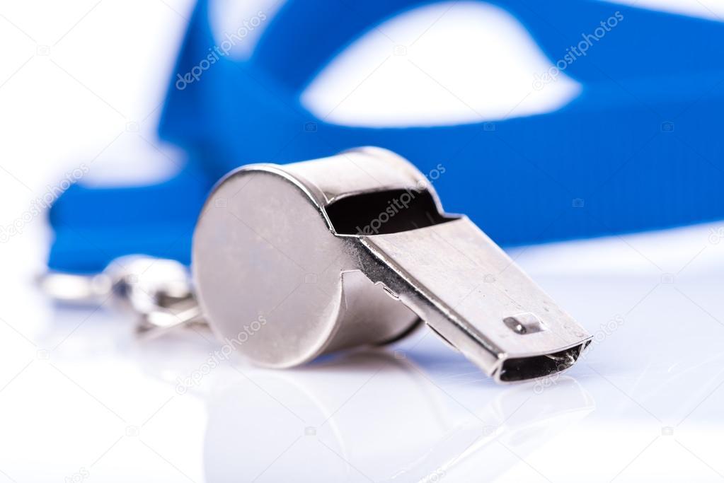 Apito de metal com cordão azul — Stock Photo © thodonal  86002594 e56ad542b9f34