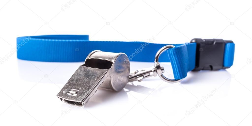 Apito de metal com cordão azul — Fotografias de Stock © thodonal ... c0858912f557a