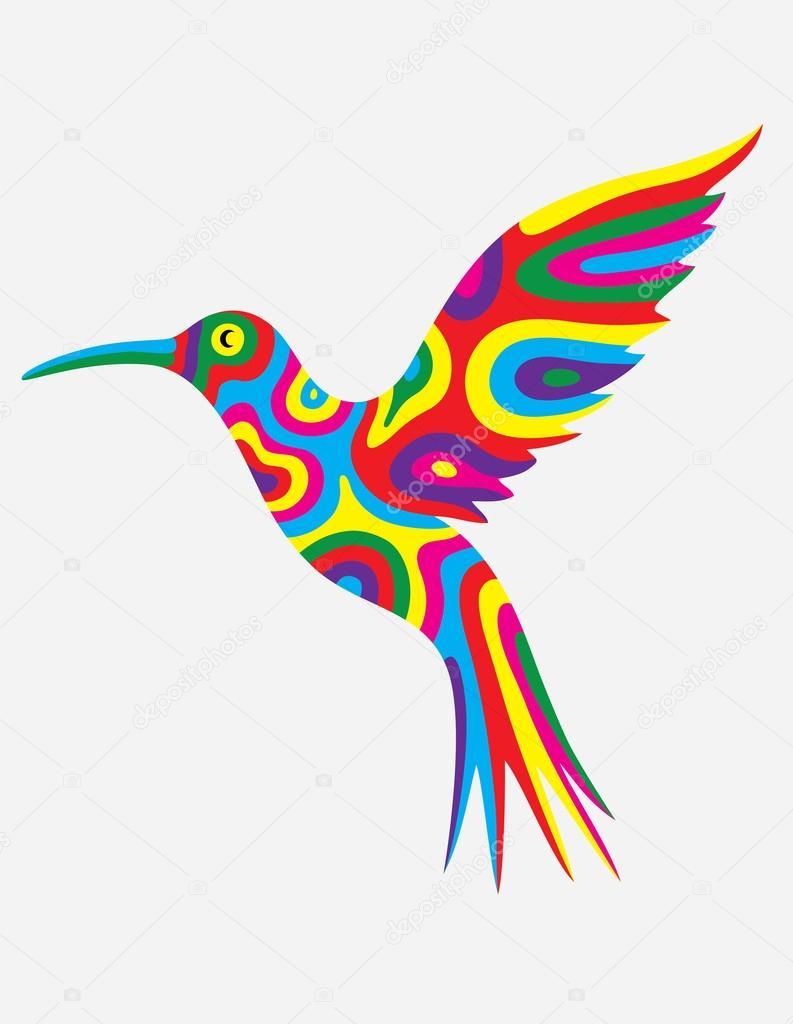 Humming bird abstract colorfully