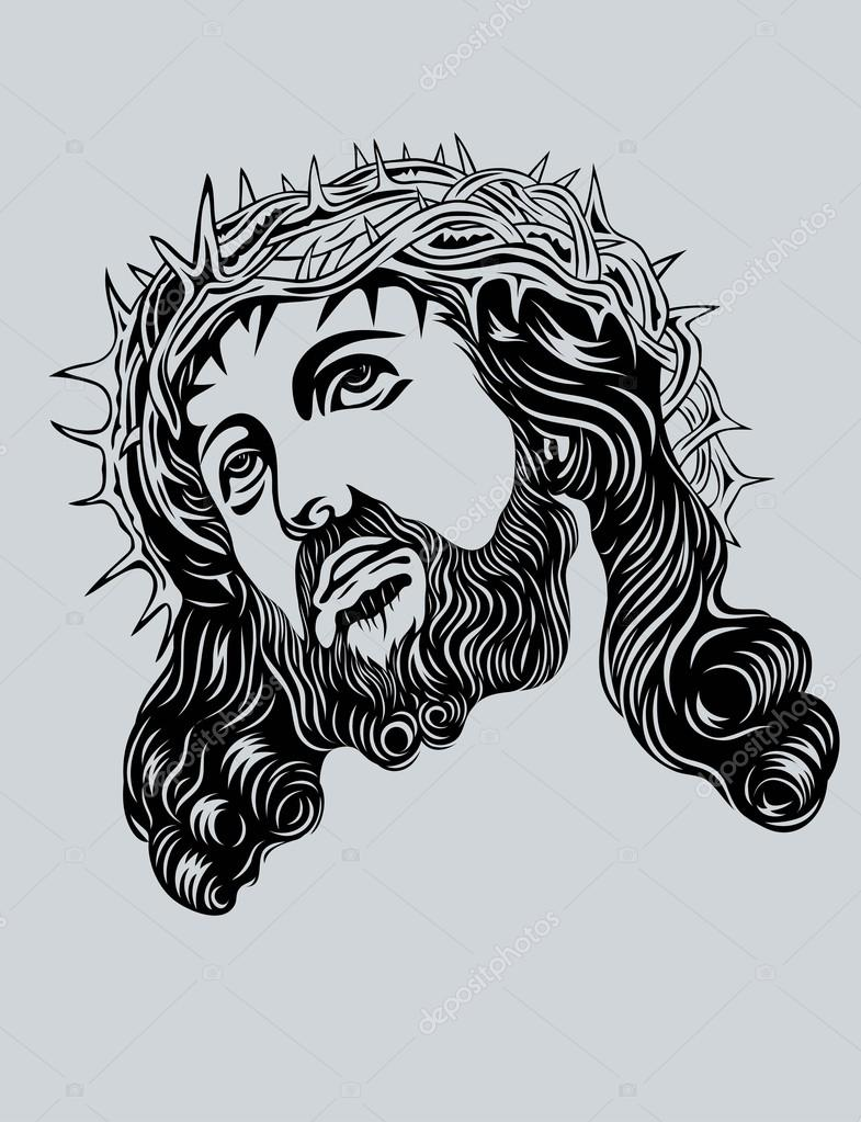 Jesus christ face silhouette images for Immagini vector