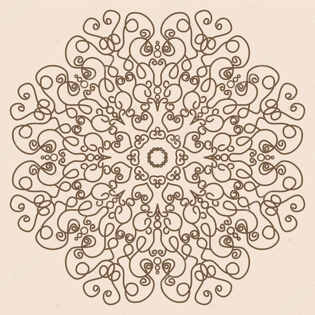 Mandala. Vintage Round Ornament Pattern Like Lace in Retro Color ...