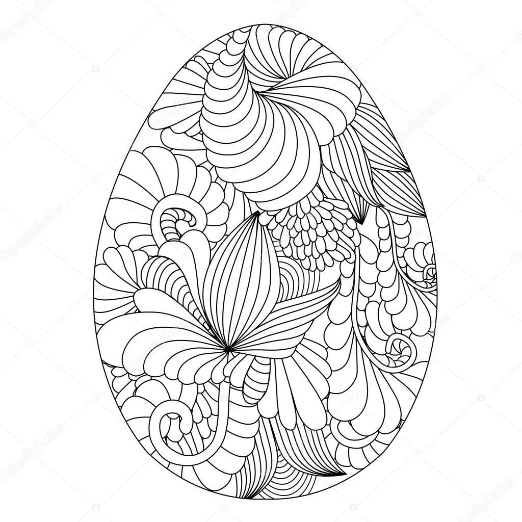 Mano dibujada ornamentales huevos de Pascua para colorear libro para ...