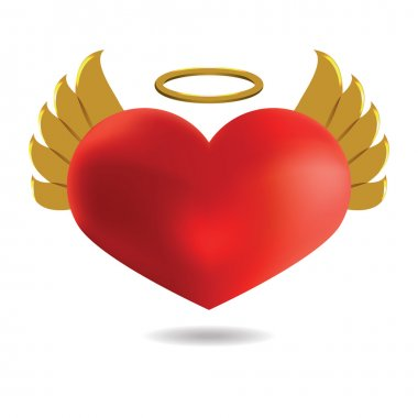 Red Angel  Heart with Golden Wings and Halo, Isolated On White B