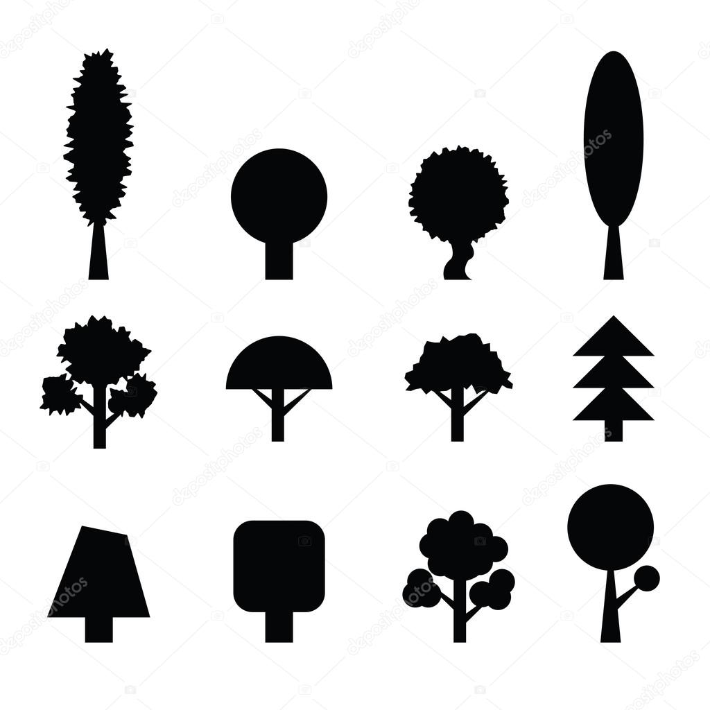 Set of Trees Silhouettes. Collection of Design Elements. Icons S