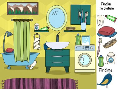 Find in the picture. Logical game. Bathroom