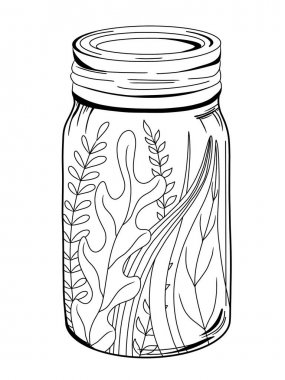 Magic can and bottle. Coloring page