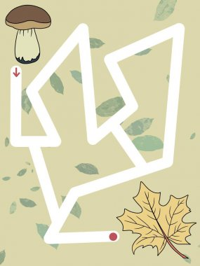 Funny maze or labyrinth for kids. Logical game. Autumn