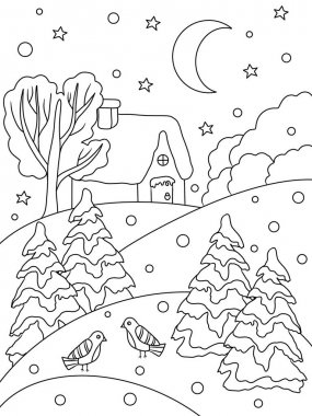 Coloring page. Logical game. Winter and snow