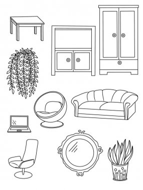 Set of furniture. Coloring page