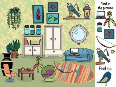 Find in the picture. Logical game. Room with furniture