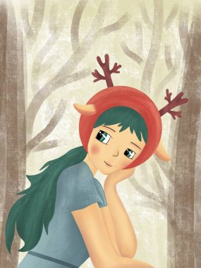 Background with forest fairy