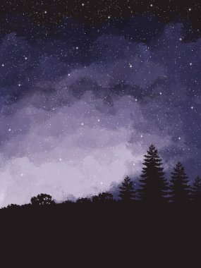 Starry sky on the forest . Background with clouds