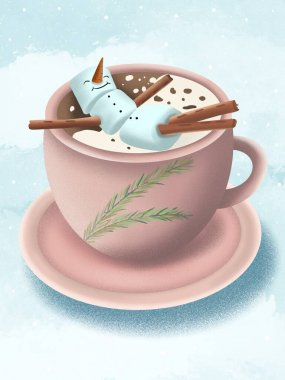 Cup of coffee and snowman out marshmallows. Christmas