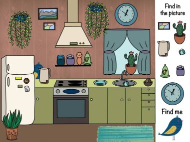 Find in the picture. Logical game. Kitchen