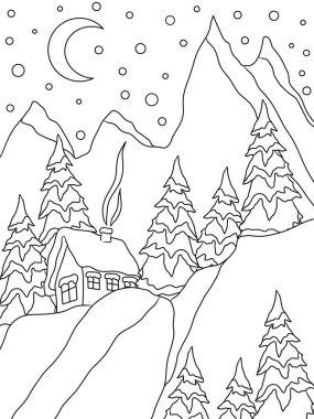 Christmas tree and ball. Coloring page