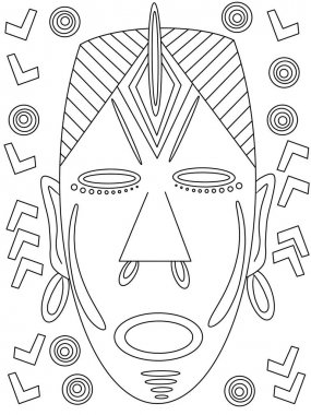 Coloring page. Logical game. Masks