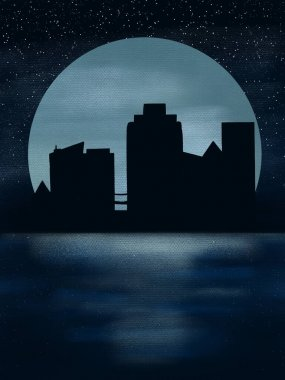Moonlight in the city