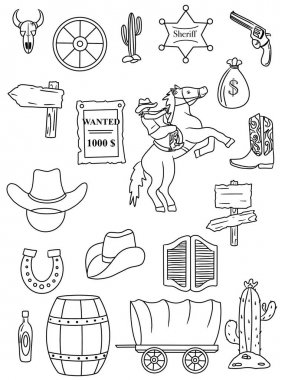 Set of Wild West. Coloring page
