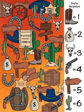 Find in the picture. Learning to count. Logical game. Wild West