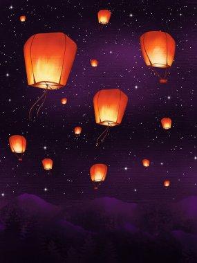 Set of sky lanterns. Night starry sky