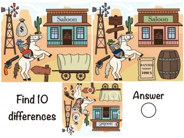 Find the differences. Logical game. Wild West