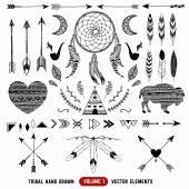 Fényképek Kézzel rajzolt vektoros törzsi elemeket. Azték emblémák és jelvények