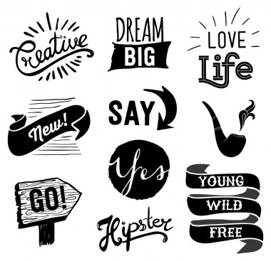 Set of hipster vintage retro labels. Hipster style hand drawn elements for design. Quotes and icons.
