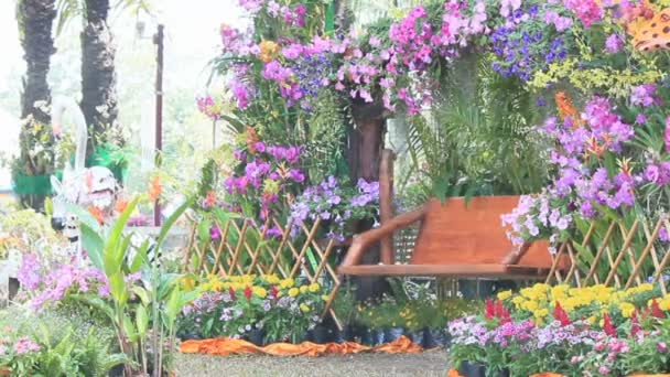 Wood Swing In The Flowers Garden Hd Vdo Stock Video C Moccabunny