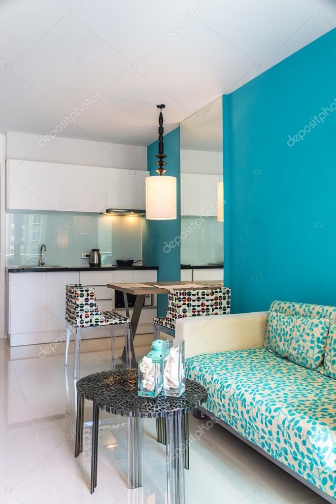 Moderne Wohnzimmer Und Küche Zimmer Interieur U2014 Stockfoto